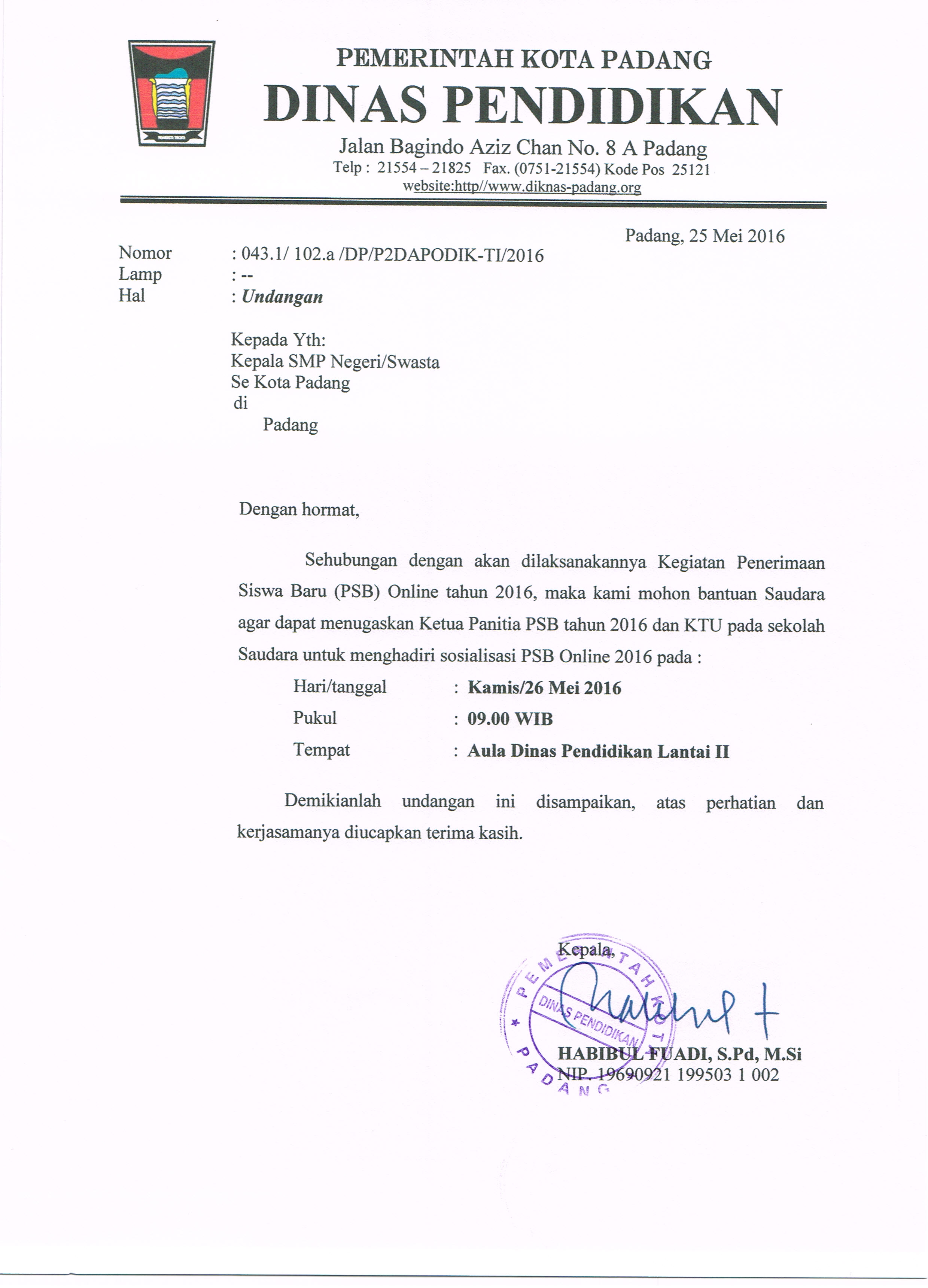 Berita Dinas Pendidikan Kota Padang
